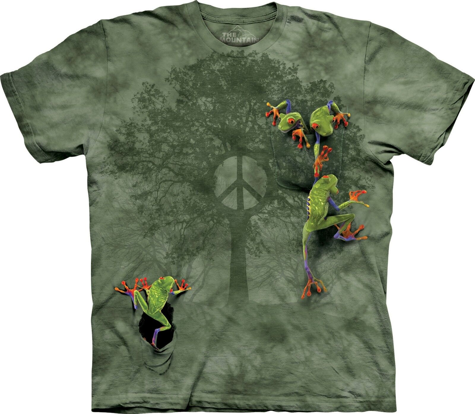 Peace Tree Frog Amphibian T-Shirt Adult Unisex The Mountain