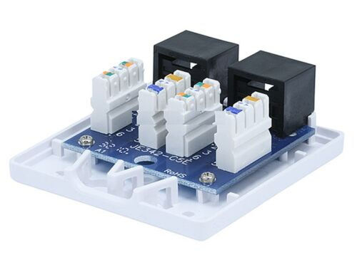2 port Cat5e Cat 5e RJ45 Network//Internet Cable Wall Surface Mount Compact Box