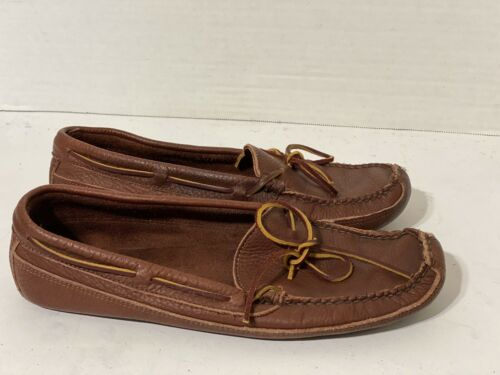 LL BEAN Men's Brown Genuine Leather Slippers Mocca