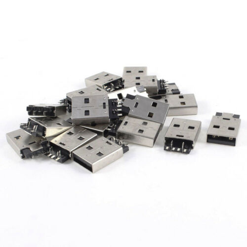 20PCS USB 2.0 4PIN A Type Male Plug Verbinder USB jack 180 degree SMT SMD AIP