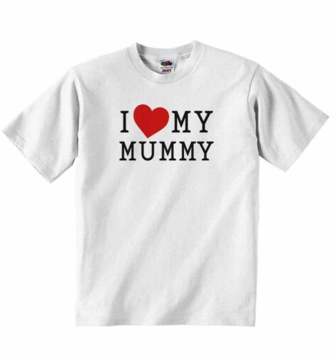 Girls New Personalised Baby T-shirt Tees Clothing for Boys I Love My Mummy