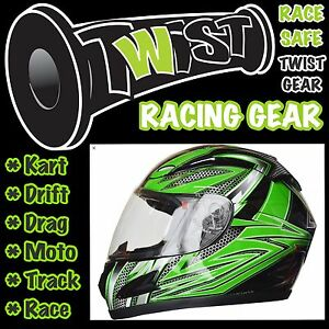 ADULT-YOUTH-GO-KART-DRIFT-TRIKE-RACE-TRACK-DRAG-MOTO-HELMET-Green-Black-XLarge