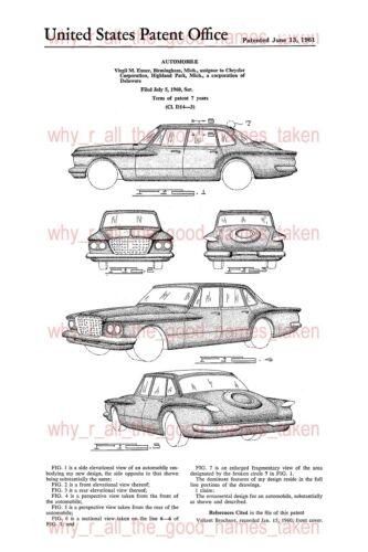 A4 Printed Repro Art U.S 1961 CHRYSLER VALIANT RV1 Automobile Car Patent