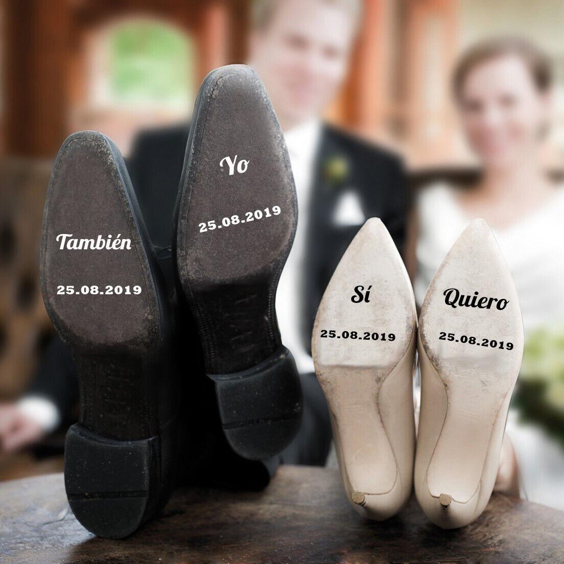 Pegatinas zapatos boda Sí Quiero Yo También personalizadas con fecha