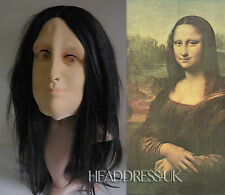 Mona Lisa Latex Rubber Mask with Hair Fancy Dress Halloween Costume Office Party