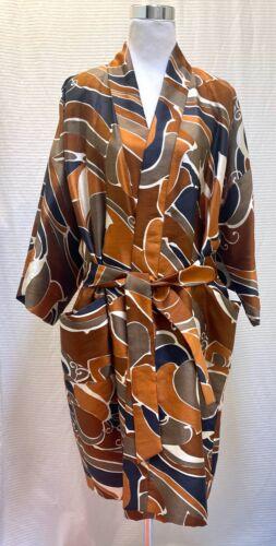 Rare MICHAEL NOVARESE Raw Silk Robe Stunning Print