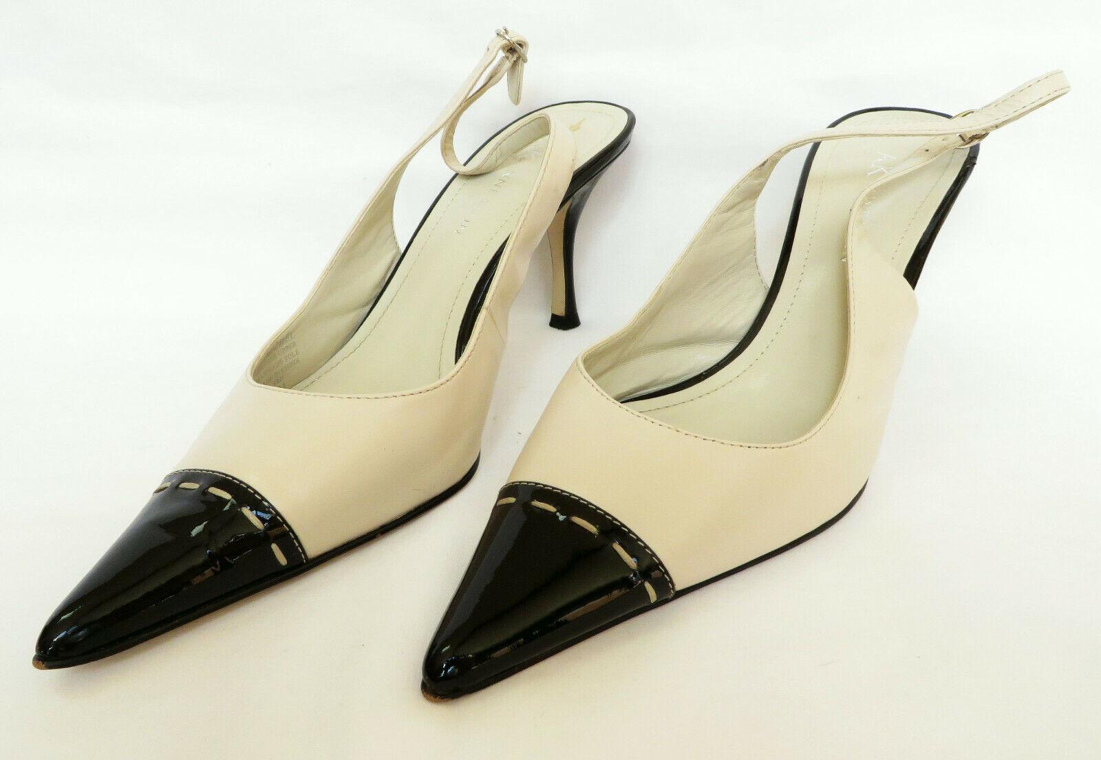 ANNE KLEIN AK Michel Womens Champagne Cream Black Patent Leather Toes Heels 7 M