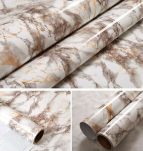 Self Adhesive Marble Vinyl Waterproof Film Wallpaper Kitchen Cabinet Furniture Ebay