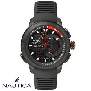 Nautica-NAPCPT003-Cape-Town-Silikon-schwarz-Armband-Uhr-Herren-NEU