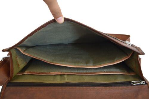 Leder Umhängetasche Schultertasche Schulranzen 12 Zoll Laptop A4 Paper Messenger