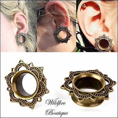 Pair Silver or Gold Tribal Flower Sun Flared Ear Tunnels Plugs Stretchers 6-18mm