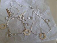 Halskette & Armband Set, mit Herz & Bärchen-Anhänger, Neu