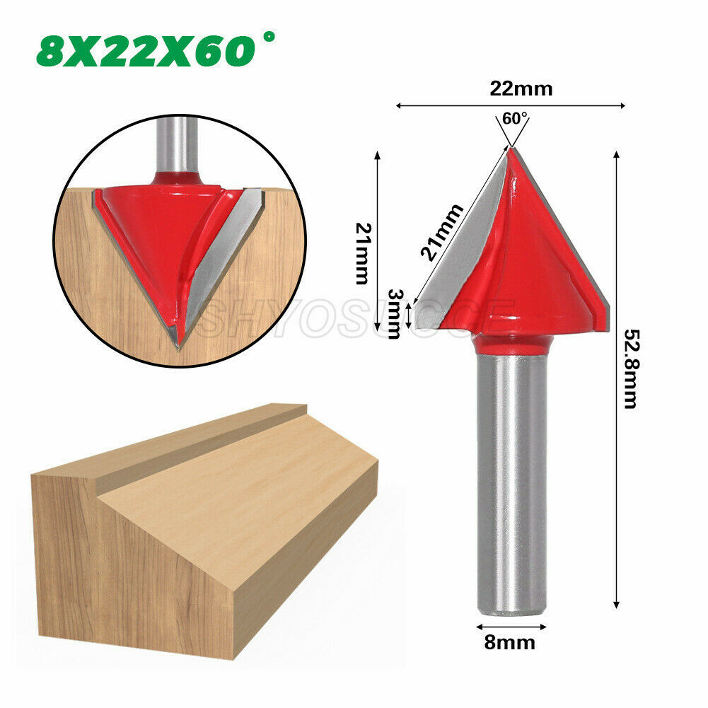 5//16/'/' 3Pcs Router Engraving Wood Working 3D Groove Bit 8mm Shank Tools