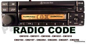 Radio-Code-Mercedes-Alpine-AL2297-MF2297-CM2294-CM2299-CM1910-CM2194-Key-Code