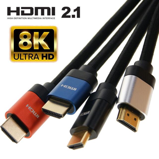 HDMI 2.1 Ultra Hd Uhd 3D 8K Câble plomb 48 Gbit/s HDR 4:4:4 8 K@60Hz Audio Ethernet