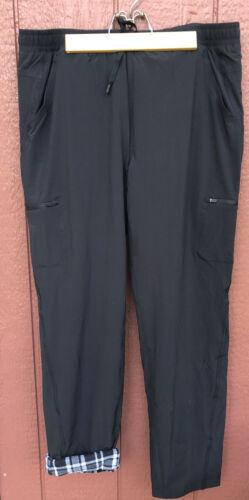 Eddie Bauer Polar Lined Pants 14 Womens Black Fleece Warm Snow Blk-40