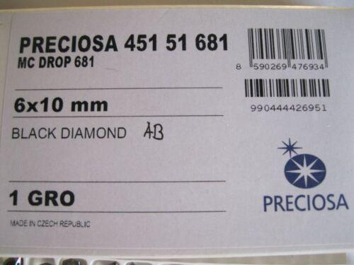 AB 24 Preciosa Machine Cut Drop Pendants 6x10mm Black Diam