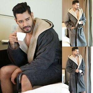 Luxury Men/'s Winter Warm Soft Hooded Robe Male Long Bathrobes Comfort Clothing