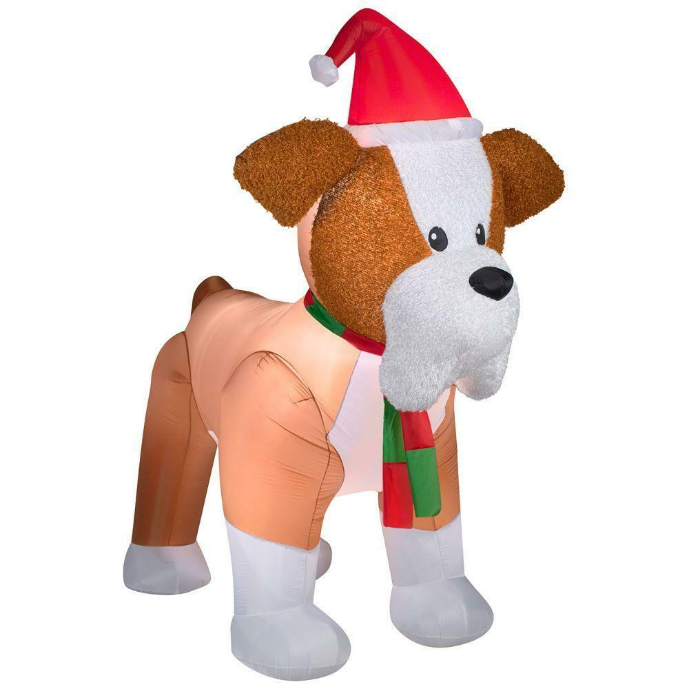 8 ft high inflatable fuzzy french bulldog lighted christmas holiday gemmy ebay