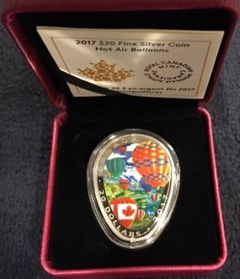 2017 Canada Hot Air Balloon Shaped 1 oz Silver Colorized Proof $20 OGP SKU49226