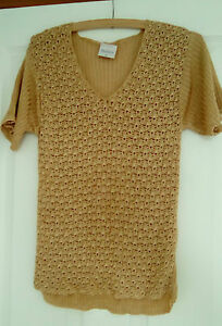 GORGEOUS-GOLD-COLOURED-CROCHET-LOOK-TOP-SIZE-M-BY-MACKAYS