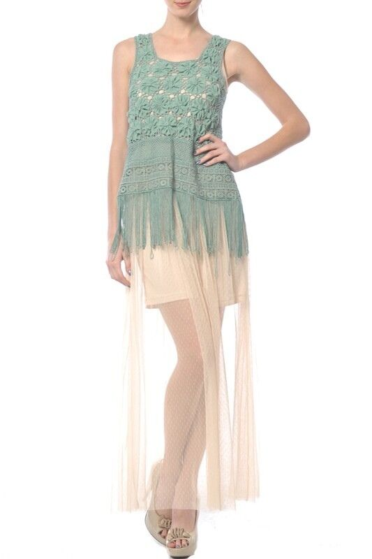 Ryu Maxi Dress w  Crochet Overlay (Cool Mint Cream)