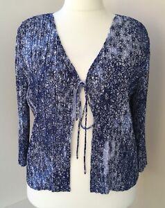 RRP-69-CC-Petite-Blue-Floral-Pleat-Effect-Summer-Cardigan-Size-XL-24-26
