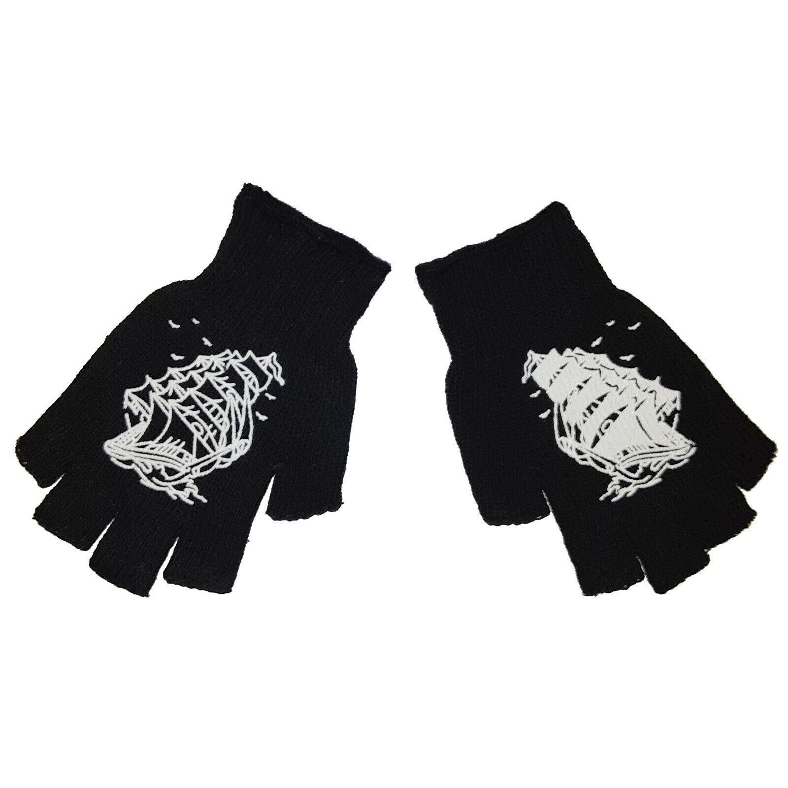 Rockabilly Punk Horror Goth Pirate Ship Gothic Mens Black Fingerless Work Gloves