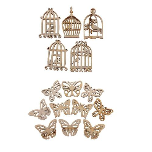 60pcs MDF Holz Birdcase Schmetterling Formen aus Holz Scrapbooking
