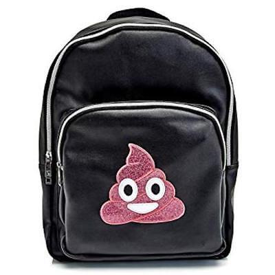 Olivia Miller Girls Pink Glitter Poop Emoji Backpack Black Faux Leather