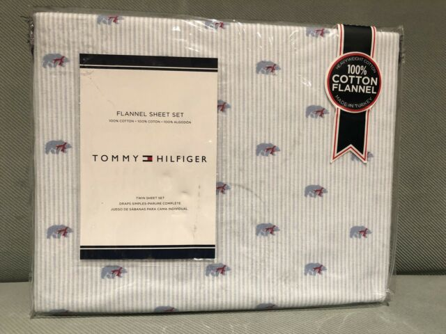 Tommy Hilfiger Polar Bear Flannel Twin Sheet Set Red Scarf Blue White Stripe New For Sale Online