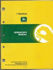 Original John Deere Model 7 Backhoe Operators Manual Form Number Om M79642 E9