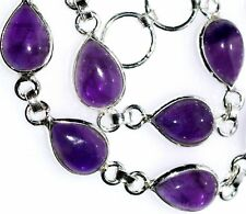925 Sterling SILVER Amethyst Bracelet Authentic Gemstone Jewellery, Purple Stone