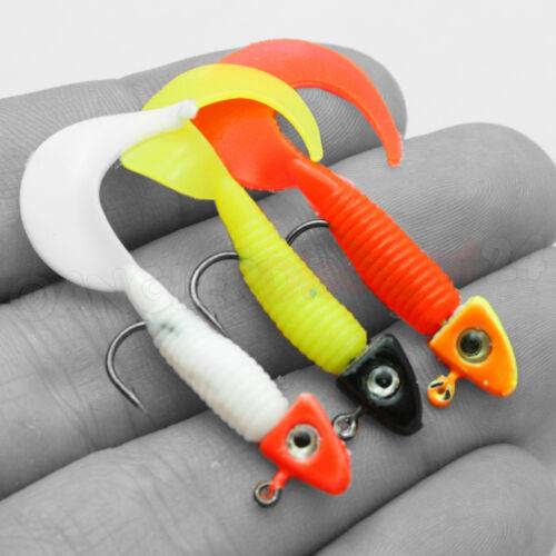 9x Mini-Twister DELUXE montiert mit Haken /& Jigkopf Köderset Jigs Forellenköder