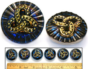 Reduced! 22mm Vintage Czech Glass BLUE Gold Mirror Celtic Triple Knot Buttons 6p