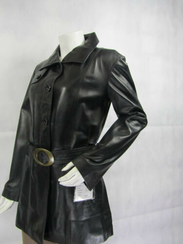 Ladies Women Real Leather Black Jacket Trench Coat New Biker Rock Fitted