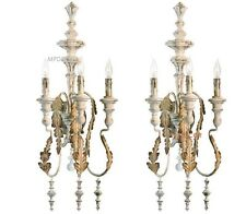 French Country Motivo 3 Light Wall Sconce Bracket Cottage Chic Iron Set Of 2