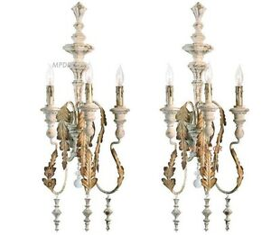 French Country Motivo 3 Light Wall Sconce Bracket Cottage Chic Iron ~Set Of 2