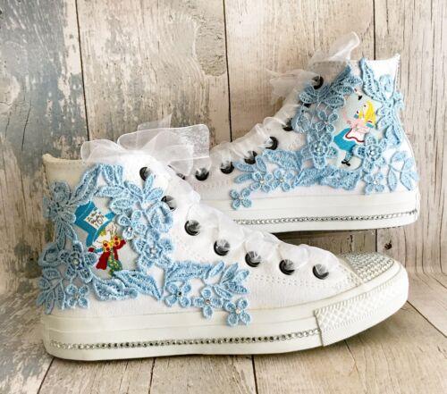 pays avec Converse au 3 Alice merveilles 9 cristaux des Uni Swarovski des mariage chaussures de Royaume n5faxpUwxT