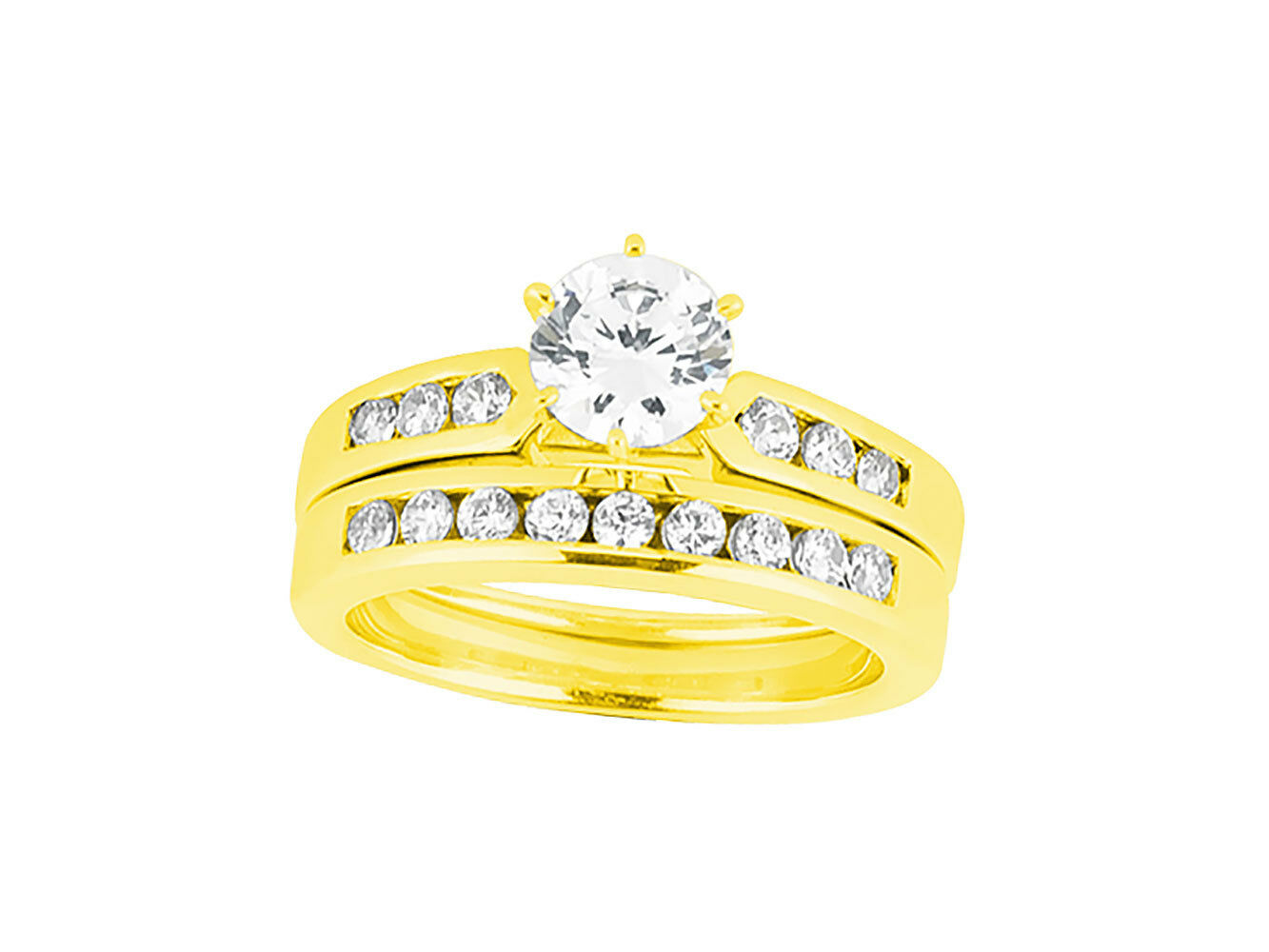 Natural 1.00Ct Round Diamond Channel Engagement Ring Set Solid 10k gold