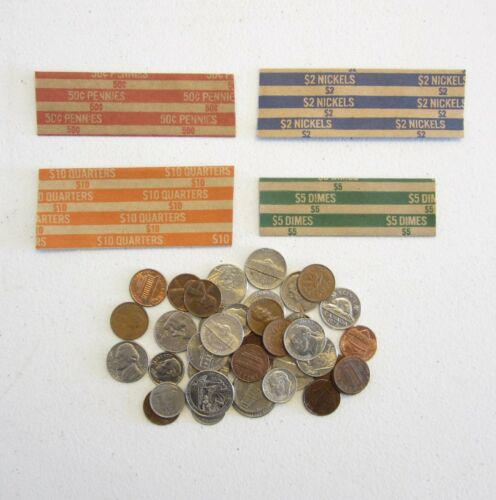 200 COIN WRAPPERS MIXED     50 EACH OF QUARTER DIME NICKLE AND PENNY WRAPPERS