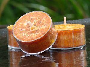 10pk SANDALWOOD /& GERANIUM Scented NATURAL ECO TEA LIGHT CANDLES 60 hrs//pack
