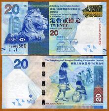 Hong Kong, $20, 2012, HSBC, P-212b, UNC > Lion