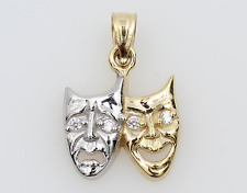 14K 2 Tone Yellow White Gold Comedy Tragedy Happy Sad Face Mask CZ Small Pendant