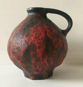 RUSCHA-Keramik-Vase-rote-Lava-Fat-Lava-Form-352-60s-70er-WGP-Rare-Glasur