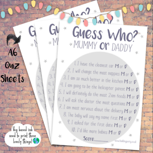 Mummy or Daddy Guess Who Boy Girl White Baby Shower Trivia Quiz Game