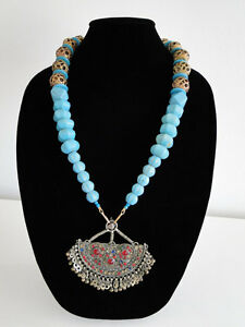 Handmade, necklace, turquoise, African, brass, beads, bold, statement!