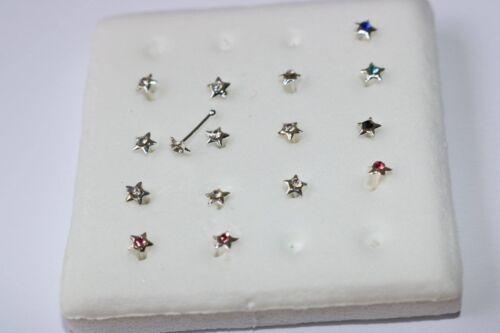 Sterling Silber 925 Stern ZIRKONIA Nase Crystal Nose stud Star nostril pin SET