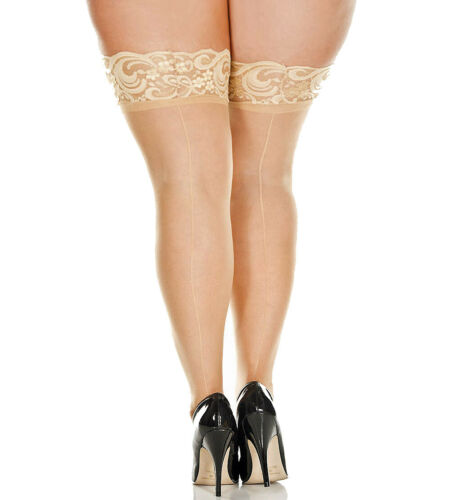 Plus Size Stay Up Silicone Lace Top Stockings With Backseam