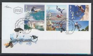 ISRAEL-2009-EXTREME-SPORT-SKYDIVING-SURF-BICYCLE-3-STAMPS-ON-FDC